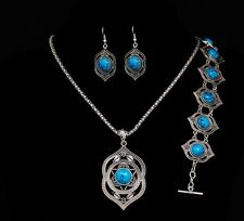 Nice Tibetan Silver Plated BLUE Turquoise Bracelet Earrings Necklace Jewelry Set
