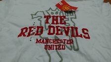 NEW Official White Manchester United The Red Devils T Shirt MAN UTD Size Small S