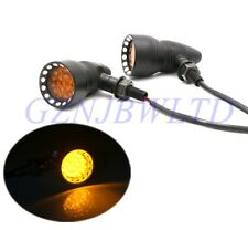 Black Motorcycle Turn Signal Indicator Light Lamp Amber For Harley Chopper USA