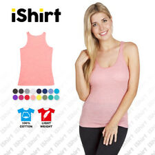 LADIES SINGLET 100% COTTON PLAIN TANK TOP AMERICAN STYLE GYM TRAINING ACTIVEWEAR