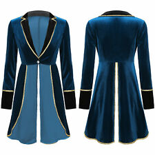 Women's Tailcoat Jacket Vintage Steampunk Victorian Carnival Long Coat Party #S