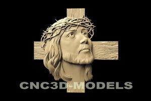 3D STL Model for CNC Router Carving Artcam Aspire Jesus Christ Cross  D122