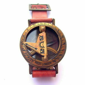 Collectible Antique Marine Wrist Watch Sundial Compass Brass With Leather Strap