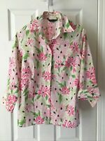Lands End NWOT Size 10 Women's Floral White Pink Green Button Down Blouse !!!