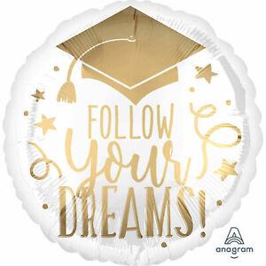 """17"""" Round Foil Graduation Balloon White Gold Metallic Follow Your Dreams Stars"""