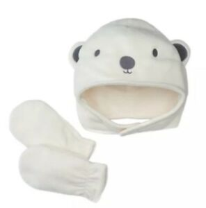 Bear White Toddler Jumping Beans Embroidered Hat and Mittens Set Size 2T-4T