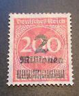 Weimar Republic German Empire 1923 Overprinted Stamp 2mill on 200mark LH