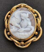 Huge Antique Victorian Shell Cameo Mourning Locket Brooch Pin Hebe & Zeus