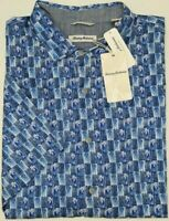 NWT $125 Tommy Bahama SS Piccolo Palms Blue Floral Tree Shirt Mens Size S NEW