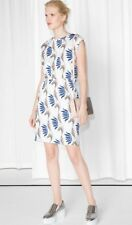 & Other Stories White Blue Floral Water Lily Printed Jersey Dress, Size 38 UK 12