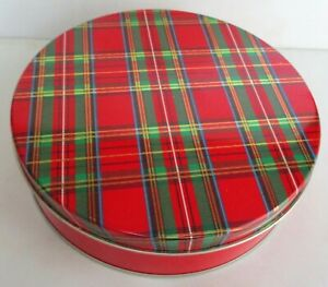 """CHRISTMAS DECORATIVE ROUND TIN. RED PLAID ON THE LID. 6.5"""" DIAM. 1.75"""" TALL NEW"""