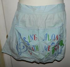 Vintage Mid Century Blue Cotton Blend Sing Along With Me Apron