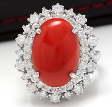 8.00 Carats Natural Coral and Diamond 14K Solid White Gold Ring