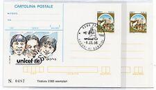 1996 ITALY REPUBBLICA IPZS 2 CARTOLINE POSTALI UNICEF B/6588