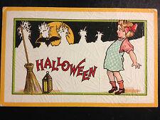 Halloween Fantasy Postcard VERY UNUSUAL, EXCELLENT girl bat corn stalks broom