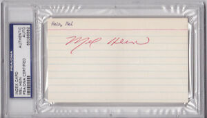 MEL HEIN SIGNED AUTO INDEX CARD PSA/DNA SLABBED
