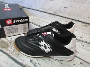 NEW Lotto Dribbling ID Indoor Turf Soccer Shoes Black Silver E3010