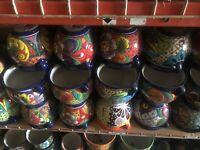 Round Mexican Ceramic Flower Pot Planter Folk Art Pottery Handmade Talavera
