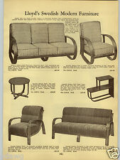 1938 PAPER AD Lloyd's Swedish Modern Settee Chair Bent Wood Tables