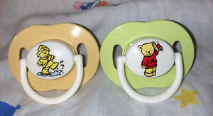 Vintage Avent Silicone Pacifiers- Orange/Green Teddy Bears!! NB Size