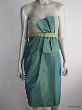 $480 KAY UNGER 12 L Silk Color Block Strapless Green Evening Formal Dress EUC