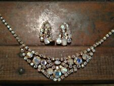 Beautiful Vintage AB rhinestones Necklace and earrings set estate find