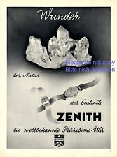 Zenith Uhr XL Reklame von 1943 Armbanduhr Quarz Werbung Präzision Chronometer +