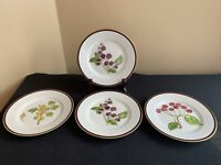 "SET OF 4 Crate & Barrel Berries Fruit 8-1/2"" Luncheon Plates; EUC! (3 Patterns)"