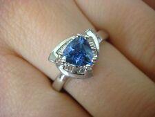 EXQUISITE AAA TRILLION TANZANITE AND BAGUETTE DIAMONDS LADIES DESIGNER RING