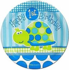 Boys Turtle 1st Birthday Paper Party Plates 8 X 23cm FREEPOST
