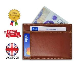 Real Leather 8 Slots Slim Thin ID Credit Card Holder Wallet Case Men Women