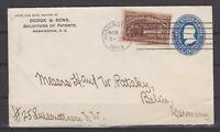 """USA - 1893, 5 C. 'Kolumbus"""" auf 5 C. GA-Kuvert aus Washington DC nach Berlin."""