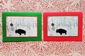 5 Handmade Bison Christmas Cards Buffalo Holiday Card Set Linocut Block Print