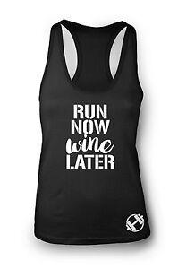 Run Now Wine Later Gym Vest Women Racerback Workout Vest Sports Top Clothes