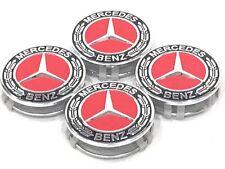 "4 pcs, Wheel Center Hub Caps, Black/Red Chrome 75MM / 3"", Mercedes Benz #2"