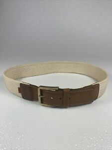 Levi's Men's Cotton Tan & Brown Leather Belt Brass Tone Buckle Sz 28.5-31 Wide