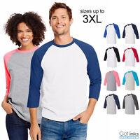 Hanes Raglan X-Temp 3/4 Sleeve Baseball Tee Jersey Soft Light T-Shirt 42BA NEW