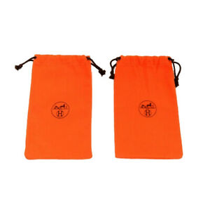 "HERMES Logo dust storage bags pair set of 2 drawstring travel 14"" X  7"" orange"