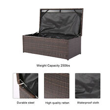 Outdoor Oversize Wicker Storage Bin Patio Container Rattan Deck Box Garden Bench