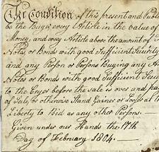 1804 Handwritten Auction Records For Johann Getz Estate Hempfield Pennsylvania