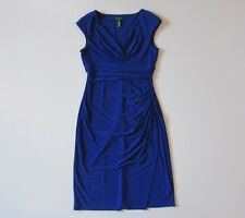LAUREN Ralph Lauren Cobalt Blue Cap Sleeve Surplice Jersey Sheath Dress 6