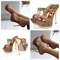 Women Open Toe Leopard Platform Rhinestone Stiletto High Heels Party Shoes Sexy