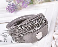 Silver Leather Fashion Bracelets