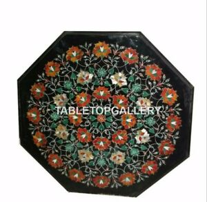"""20"""" Marble Top Side Coffee Table Carnelian Floral Inlay Work Garden Decors B040"""