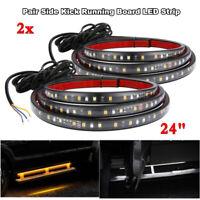 "2pcs 24"" Car Running Board Side Step LED Light Amber White Turn Signal DRL Strip"