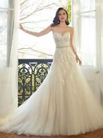 White/Champagne Wedding Dress Strapless Lace Bridal Gown Size 6 8 10 12 14 16