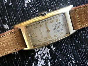 1940's BULOVA CURVED GOLD FILLED 43.5mm Clean Original Dial Curvex Cal. 7AP RUNS