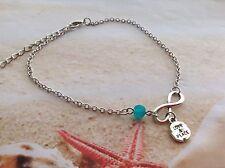 Infinity Charm Sea Blue Seaglass Bead Love & Peace Charm Chain Beach Anklet
