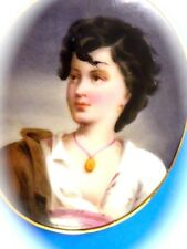 VICTORIAN 14K YG  ESTATE JEWELRY PORCELAIN  HAND PAINTED PORTRAIT PENDANT OR PIN