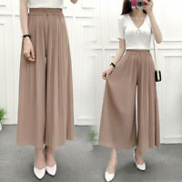 Ladies Wide Leg Trousers Solid Color Elastic Waist Loose Polyeste Casual Pants